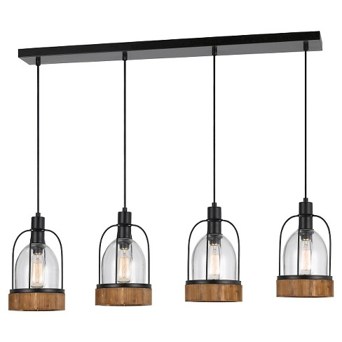 Cal Lighting Beacon Glass/Wood Island 4 light Island Chandelier - image 1 of 1