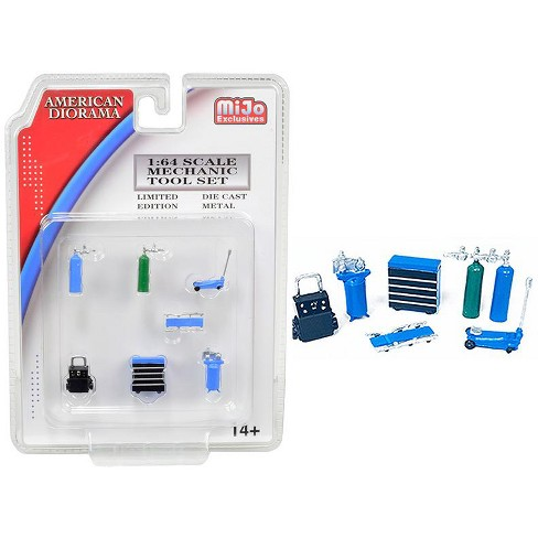 Mechanic Tool Set of 7 pieces Blue for 1/64 Scale Models by American Diorama - image 1 of 1