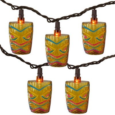 Northlight 10-Count Brown Tiki Mask Patio String Lights - 7.25 ft Brown Wire