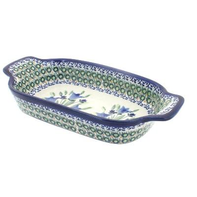 Blue Rose Polish Pottery Blue Tulip Rectangular Serving Dish
