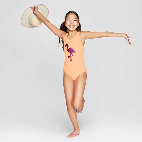 d2e9d9b577a6f Girls' Flip Sequins Flamingo Frenzy One Piece Swimsuit - Cat & Jack™ Orange