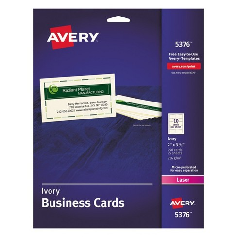 Avery® 2 x 3-1/2 Two-Side Printable Business Cards, Laser - Ivory (250 Per Pack) - image 1 of 3