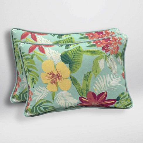 2pk Elea Tropical Oversized Outdoor Lumbar Pillows Aqua - Arden Selections - image 1 of 2