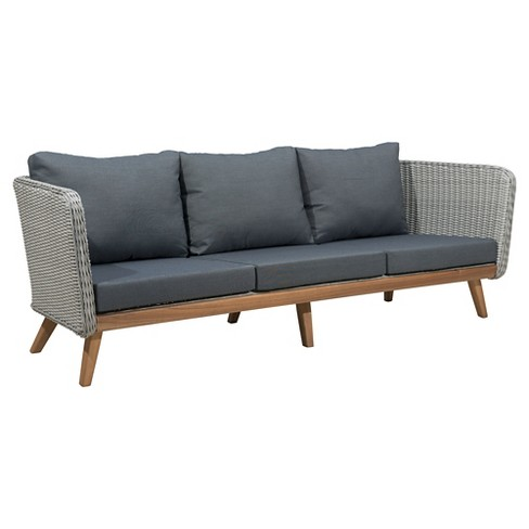 Mid Century Modern 86 Outdoor Sofa Naturalgray Zm Home Target