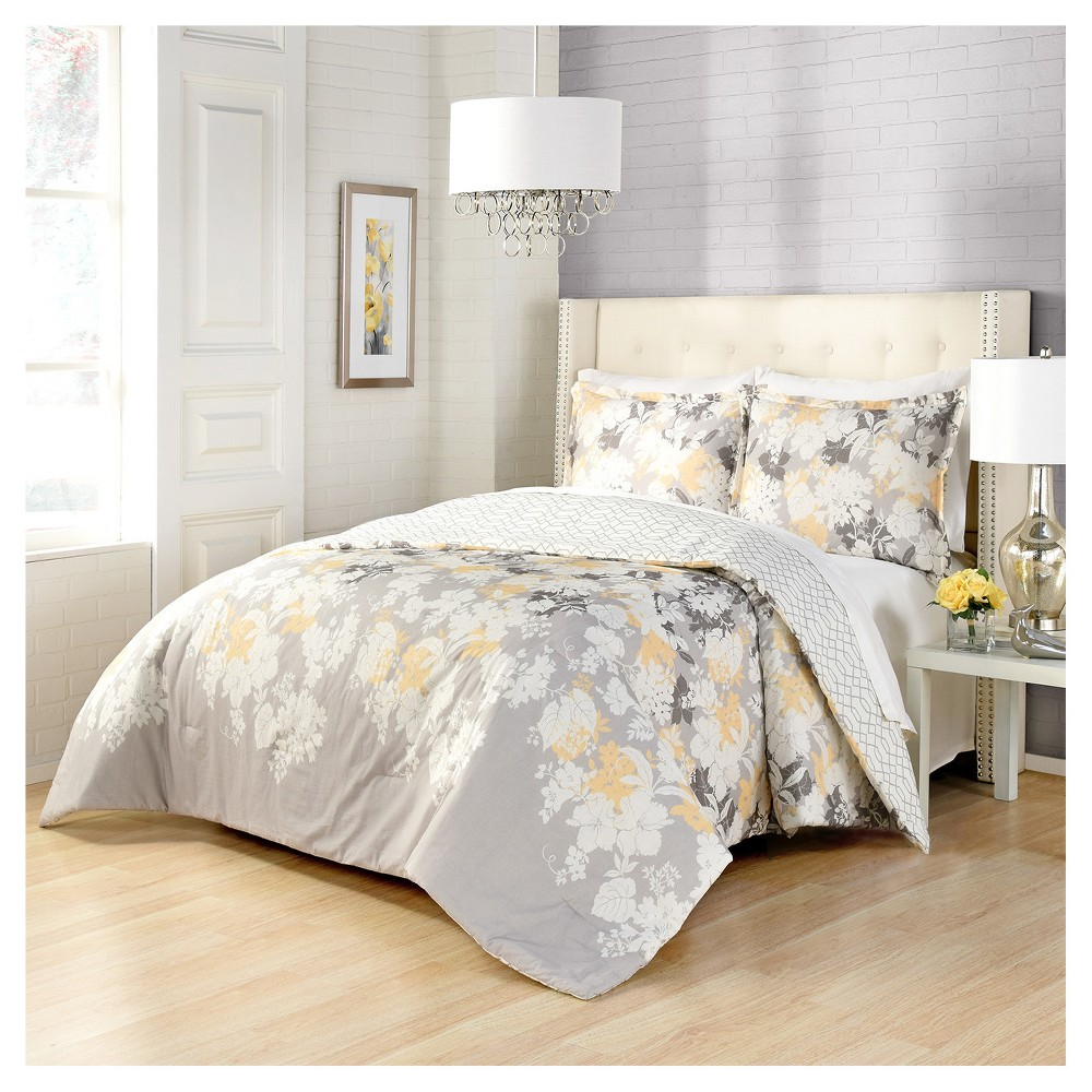 Gray Floral Garden Party Reversible Comforter Set (Queen) 3pc - Marble Hill, Gray White Yellow