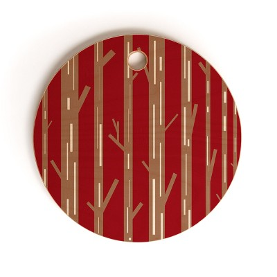 Lisa Argyropoulos Modern Trees Red Cutting Board Round - Deny Designs
