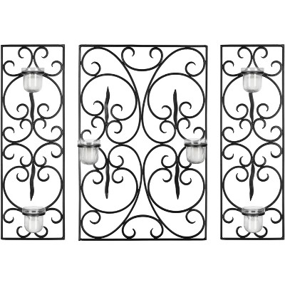 3 Panel Scroll Wall Décor - Black - Safavieh