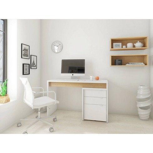 Chrono 3 Piece Home Office Set with White File Cabinet Natural White - Nexera - image 1 of 4