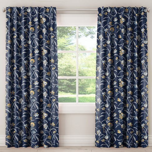 Blackout Curtain - Whisp Floral Navy Ochre - image 1 of 6
