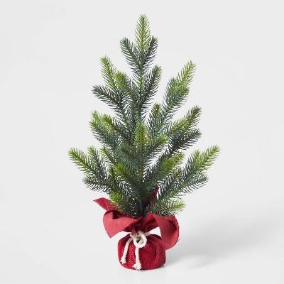 Small Christmas Tree Decorative Figurine with Red Burlap - Wondershop™