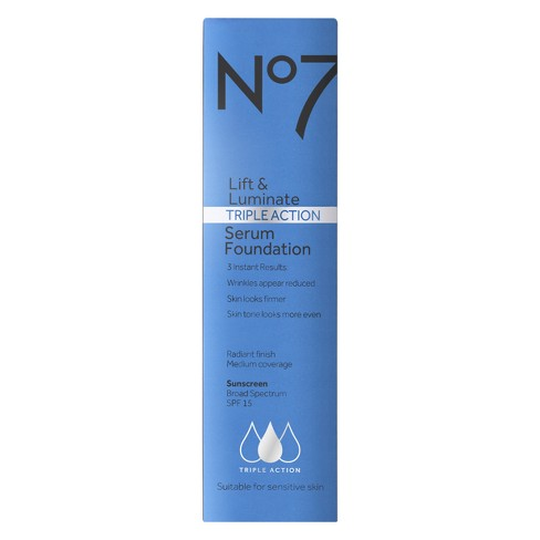 No7 Lift & Luminate Triple Action Serum Foundation SPF 15 Light Shades - 1oz