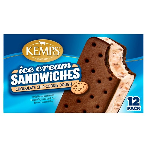 Kemps Chocolate Chip Cookie Dough Ice Cream Sandwich - 12pk - image 1 of 1