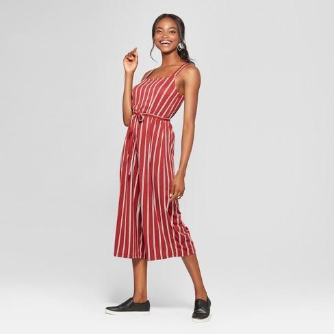 dd3378b03a99 Women s Striped Sleeveless Tie Waist Jumpsuit - Lily Star (Juniors )  Black Rusty Ivory