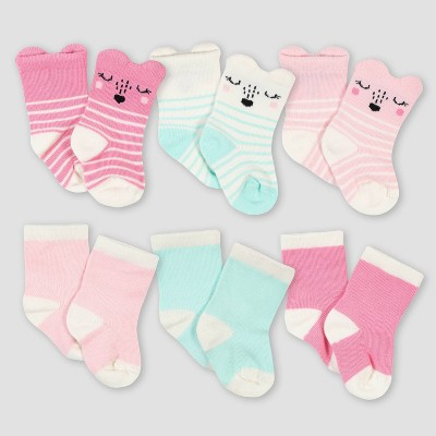 Gerber Baby Girls' 6pk Fox Jersey Wiggle Proof Socks - Pink 0-6M