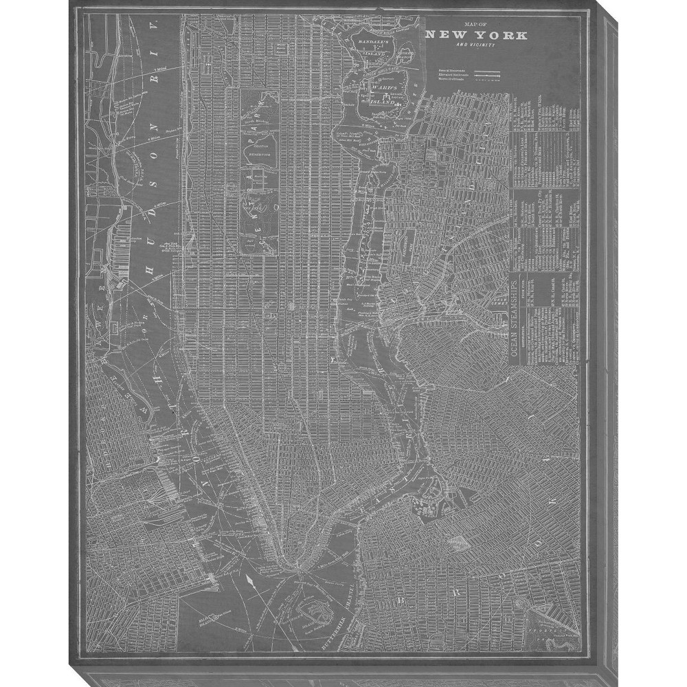 Image of City Map of New York Unframed Wall Canvas Art - (24X30), Gray