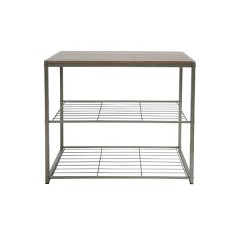 3 Tier Shoe Rack with Rustic Oak Finish Top Gray Metal - Threshold™