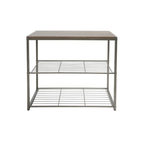 3 Tier Shoe Rack with Rustic Oak Finish Top Gray Metal - Threshold™ - image 1 of 4