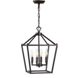 "12"" Pagoda 4 Bulb Lantern Metal LED Pendant Black - JONATHAN Y"