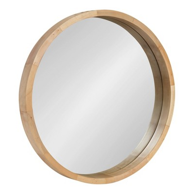"22"" x 22"" Hutton Round Wood Wall Mirror Natural - Kate and Laurel"