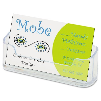 Deflecto Horizontal Business Card Holder Holds 50 2 X 3 1/2 Cards Clear 70101