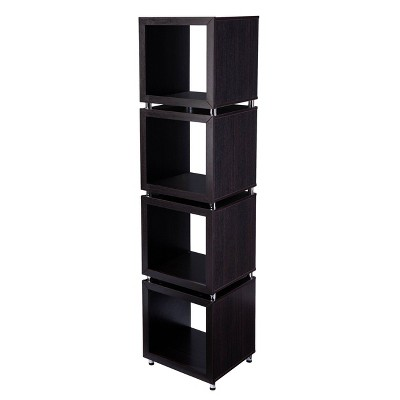"79"" Swamur 4-Tier Bookshelf Dark Espresso/Chrome - Aiden Lane"