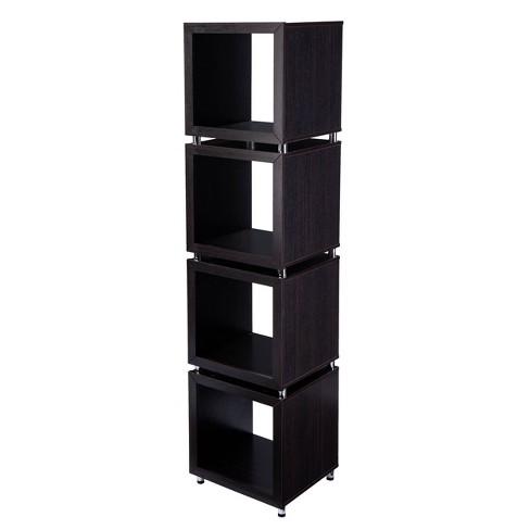 "79"" Swamur 4-Tier Bookshelf Dark Espresso/Chrome - Aiden Lane - image 1 of 4"