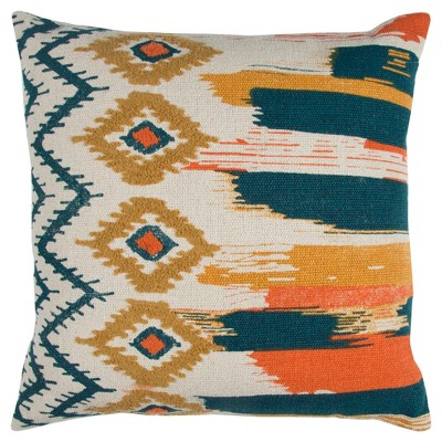 "20"" x 20"" Boho Ikat Pillow Indigo/Navy - Rizzy Pillow"
