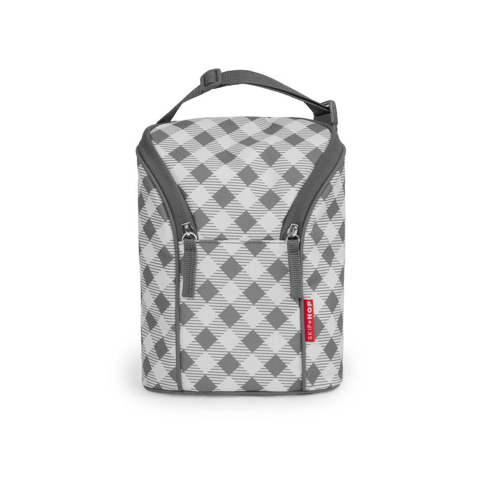 Image of Skip Hop Double Bottle Bag - Gray Gingham