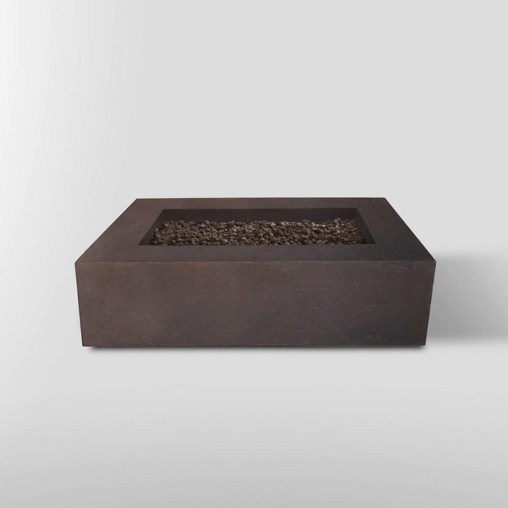 Image of Baltic Rectangle Propane Fire Table Kodiak Brown - Real Flame