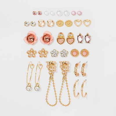 Hearts and Rose Mixed Stud and Mini Hoop Earring Set 18pc - Wild Fable™