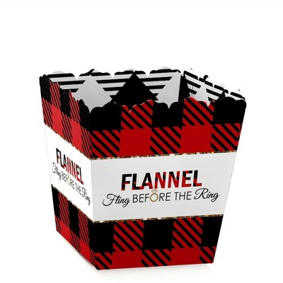 Big Dot of Happiness Flannel Fling Before the Ring - Party Mini Favor Boxes - Buffalo Plaid Bachelorette Party Treat Candy Boxes - Set of 12