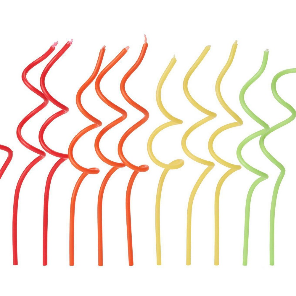 Image of 12ct Swirl Birthday Candles Red/Orange/Yellow - PAPYRUS