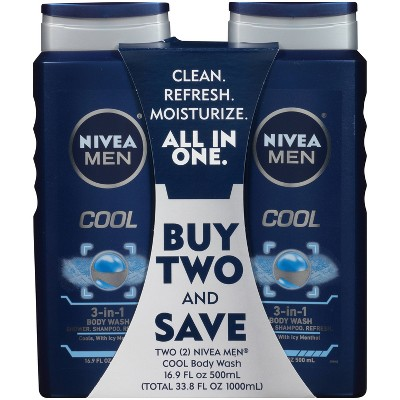 Body Washes & Gels: Nivea Men Cool 3-in-1 Body Wash