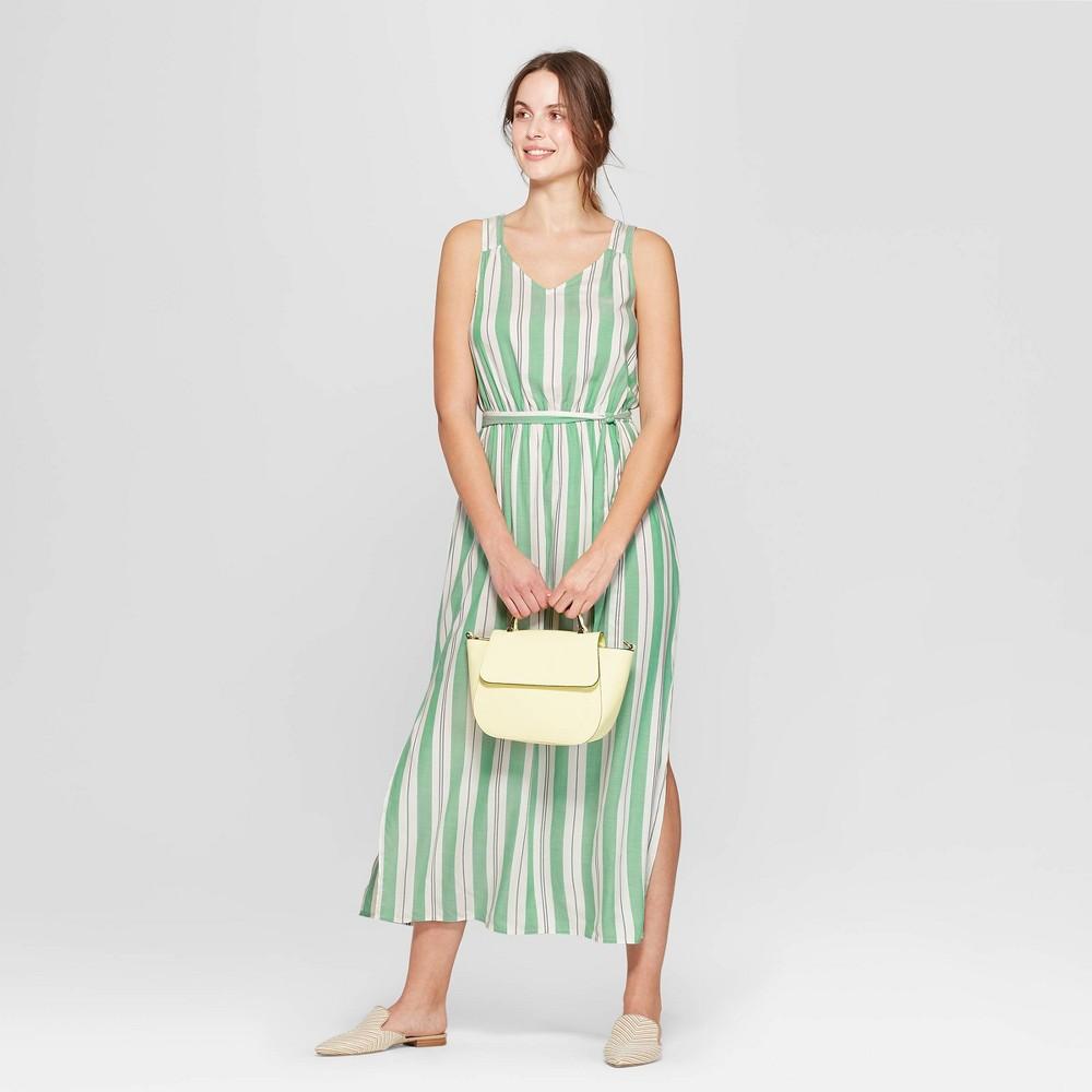 Women's Striped Sleeveless V-Neck Maxi Dress - A New Day Green/White S