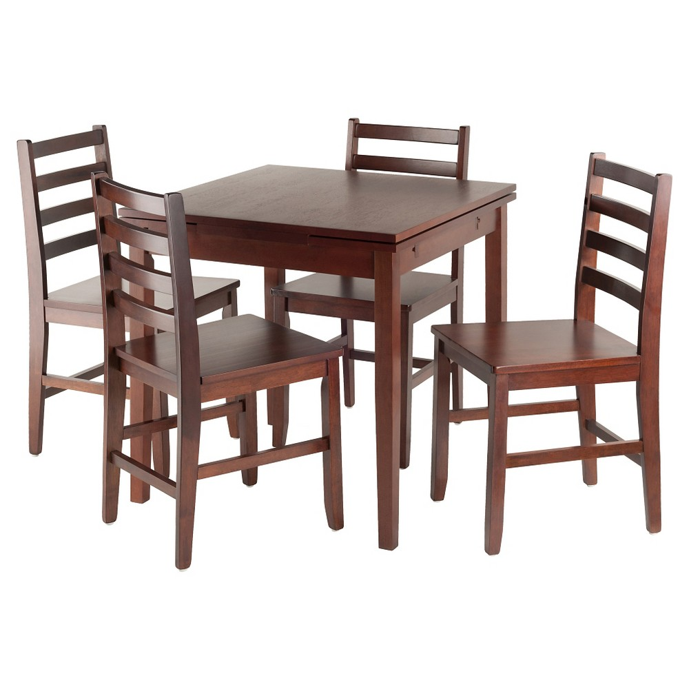 5 Piece Pulman Set Extension Table with Ladder Back Chairs Wood/Walnut- Winsome, Brown