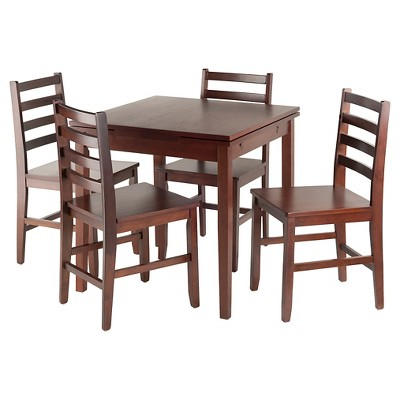 5 Piece Pulman Set Extension Table With Ladder Back Chairs Wood/Walnut   Winsome