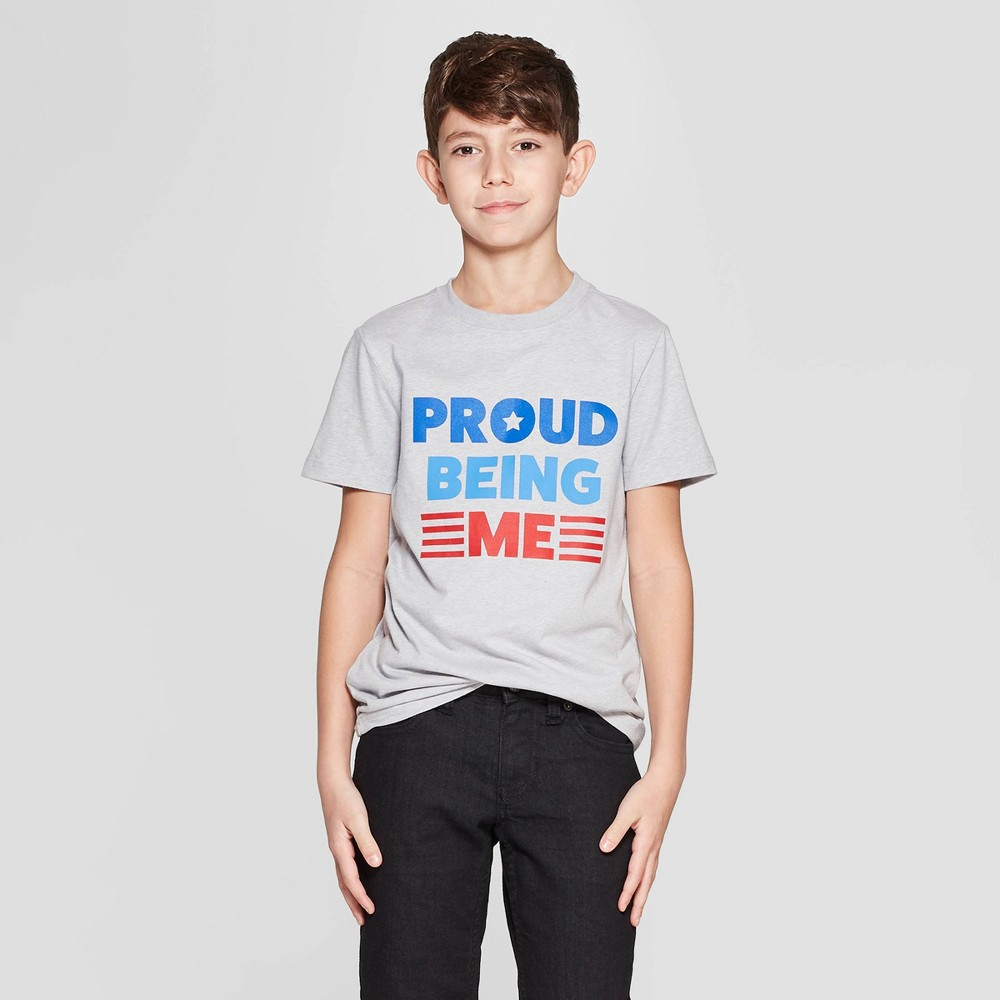 Boys' Short Sleeve Proud Being Me Graphic T-Shirt - Cat & Jack Gray M