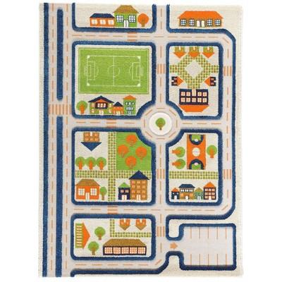 IVI 3D Play Carpets 121MD033MA13183 71 x 52.5 Inch Traffic Educational Toddler Mat Rug for Bedroom, Kids Den, or Playroom, Large