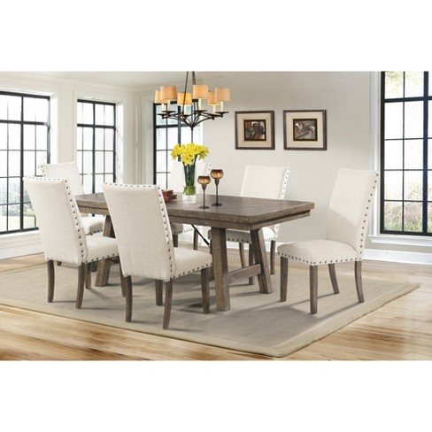 Dex 7pc Dining Set Table And 6 Upholster Side Chairs Walnut Brown Cream Picket House Furnishings