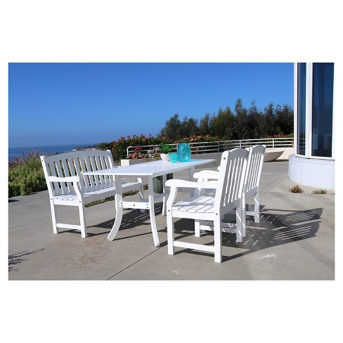Vifah Bradley Eco-friendly 4-Piece Outdoor White Dining Set with Rectangle Table, 4' Bench and Arm Chairs - White - image 1 of 8