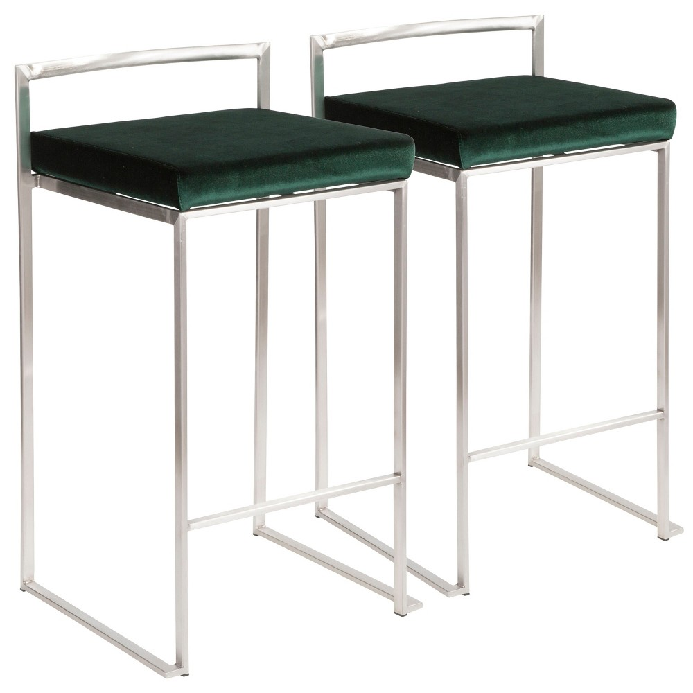 Fuji 26 In Contemporary Stackable Counter Stool Stainless Steel with Green Velvet Cushion (Set of 2) - Lumisource