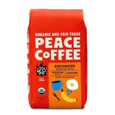 Peace Coffee Organic Fair Trade Birchwood Blend Medium Roast Ground Coffee - 12oz