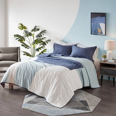 King/California King 3 Pc Carson Reversible Cotton Printed Coverlet Set/Wall Tapestry Aqua