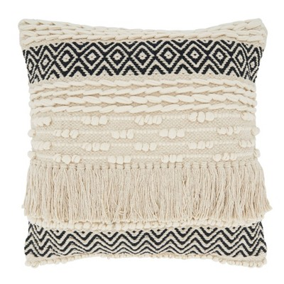 """18""""x18"""" Poly-Filled Multi-Textured Moroccan Design Square Throw Pillow Natural"""
