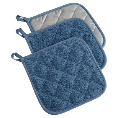 3pk Blue Potholder (7 x7 )- Design Imports
