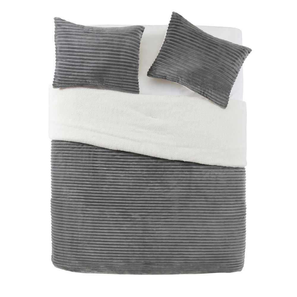 Full/Queen 3pc Zane Ribbed Plush to Sherpa Reversible Comforter Set Charcoal - Vcny Home, Gray