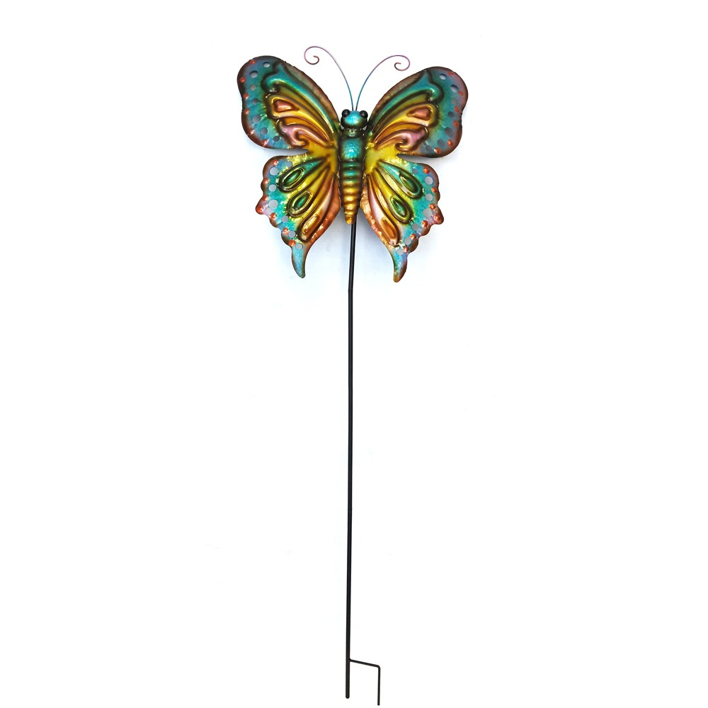 Image of 59H Metal Butterfly Stake - Backyard Expressions, Multi-Colored