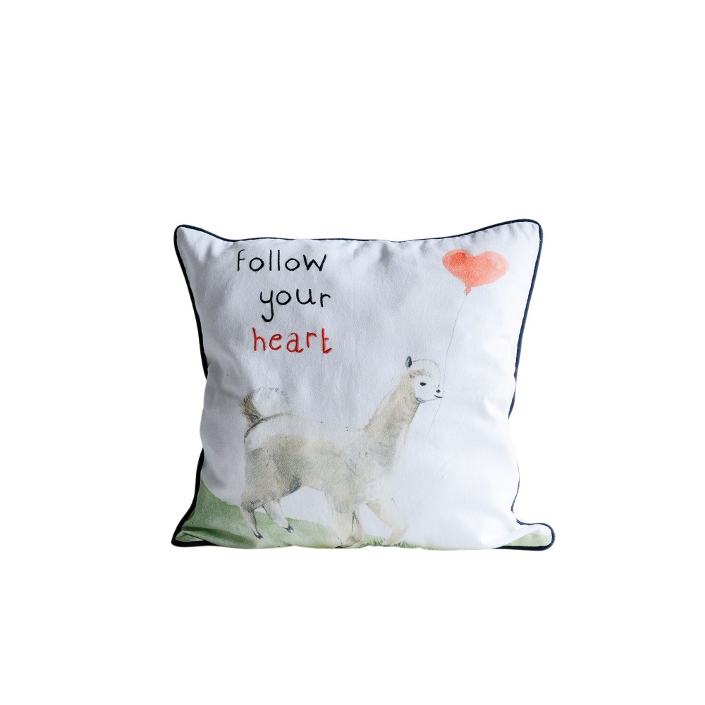 """Image of """"18"""""""" x 18"""""""" 'Follow Your Heart' Throw Pillow White - 3R Studios, Multi-Colored"""""""