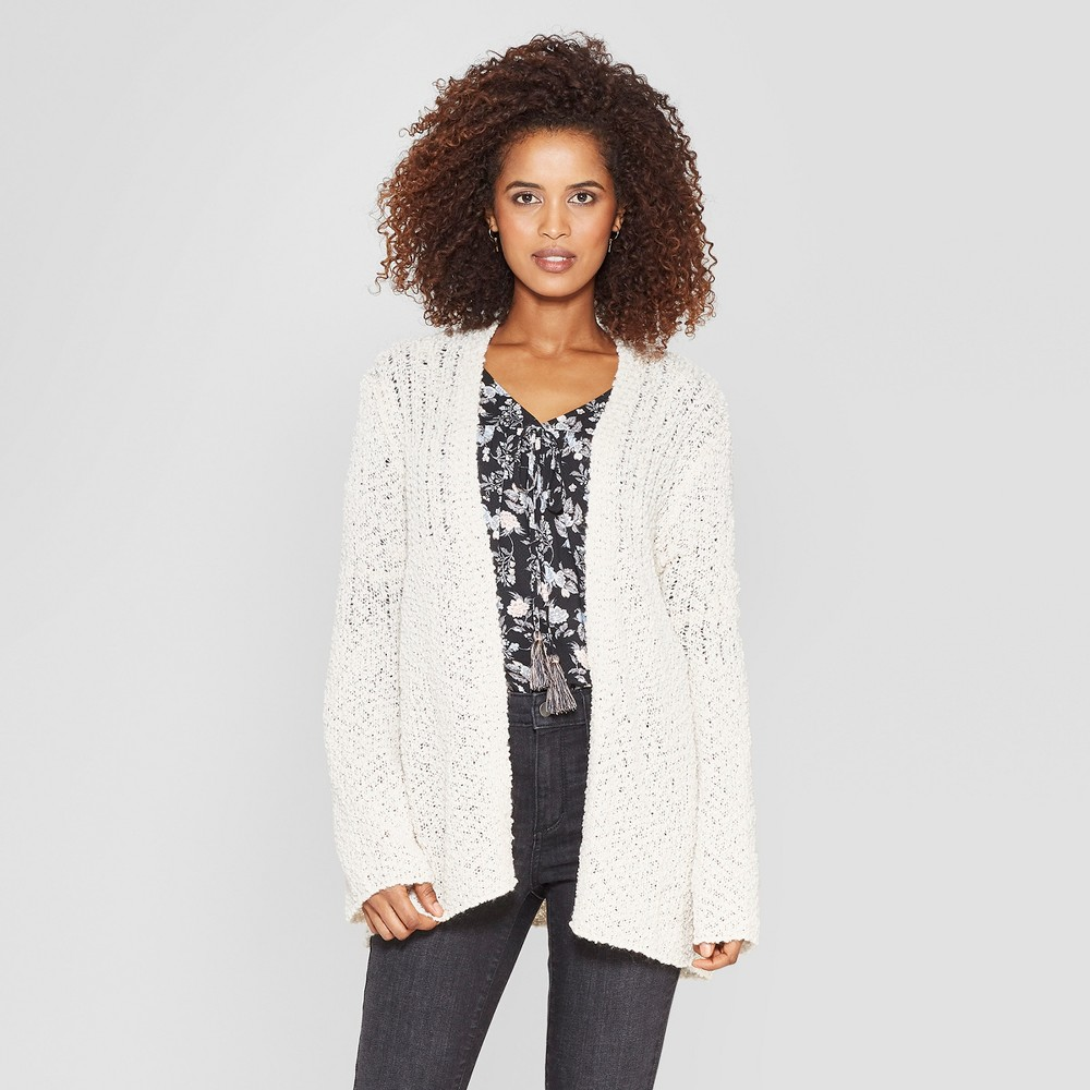 Women's Long Sleeve Open-Front Cardigan - Knox Rose Ivory M, White