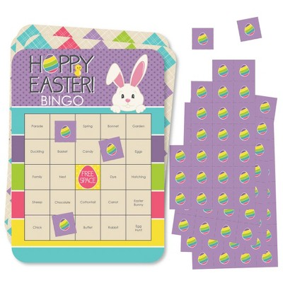 Big Dot of Happiness Hippity Hoppity - Bingo Cards and Markers - Easter Bunny Party Bingo Game - Set of 18